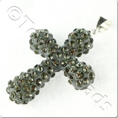 Shamballa Cross Pendant - 32x23mm - Black Diamond