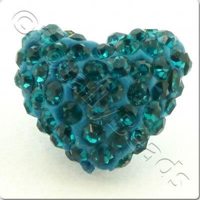 Shamballa Heart Bead - 20mm - Teal