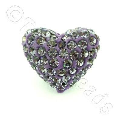 Shamballa Heart Bead - 20mm - Purple
