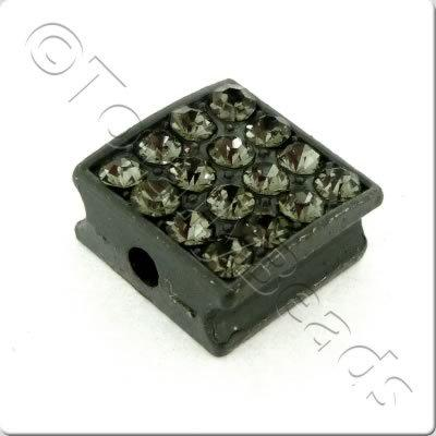 Shamballa Flat Square Bead - 10mm - Black Diamond