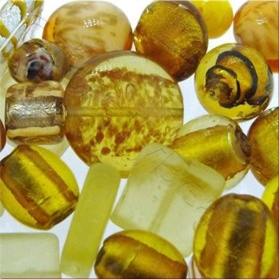 Lampwork & Silver Foil Mixed Beads 100g - Gold