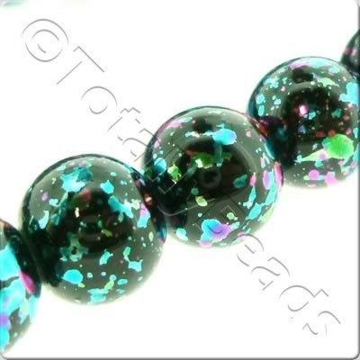 Splatter Glass Beads Round - Black