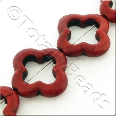 Synthetic Turquoise Clover 20mm - Red