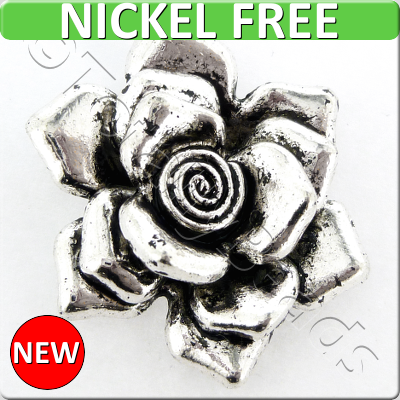 Antique Silver Metal Pendant - Rose 32mm - A9764