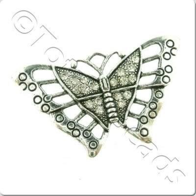 Tibetan Silver Pendant - Crystal Butterfly 56mm A12785