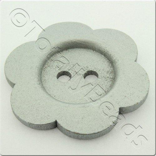 Wooden Flower Button 50mm - Silver