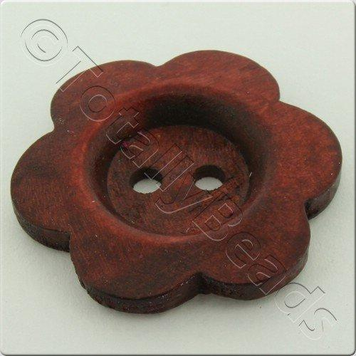 Wooden Flower Button 27mm - Wine Red