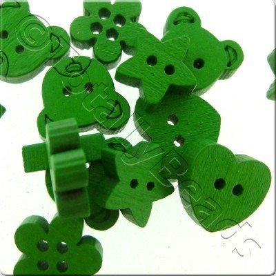 Wooden Button Mixed Shapes - Green
