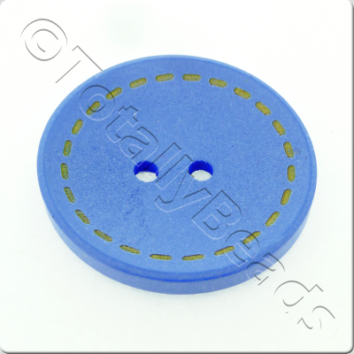 Wooden Button Stitch Effect 30mm - Blue