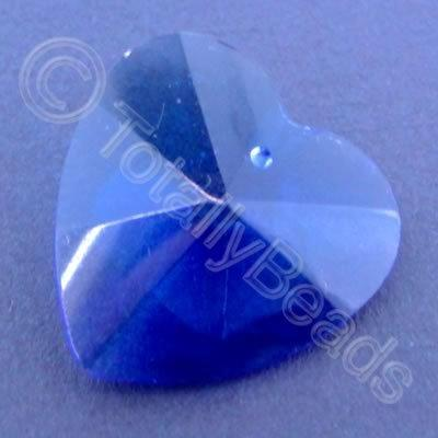 Glass Pendant Heart Blue - 28mm