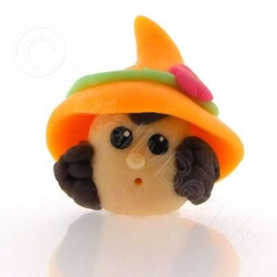 Fimo Doll Bead - Girl Orange Hat