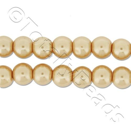 Glass Pearl Round Beads 6mm - Gold