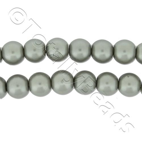 Glass Pearl Round Beads 6mm - Silver Grey