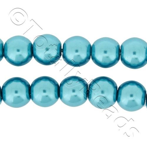 Glass Pearl Round Beads 8mm - Turquoise