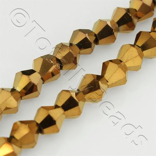 Crystal Bicone 4mm - Bronze Plate