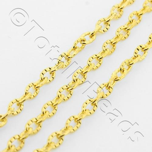 Chain Gold Plated - Oval Patterned 2x3mm