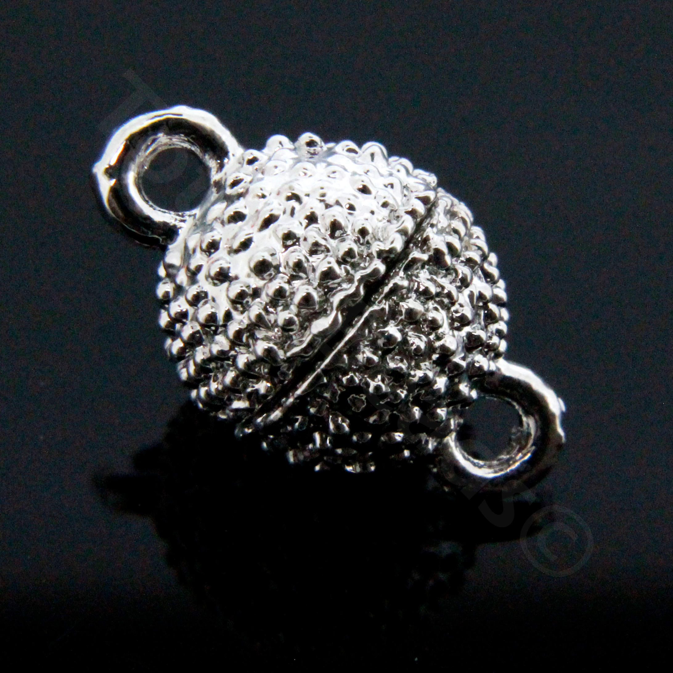 Magnetic Clasp- Spotted Round 12mm - Silver Plate