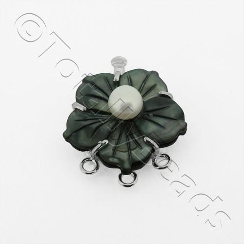 3 Row Connector Box Clasp Flower - Charcoal