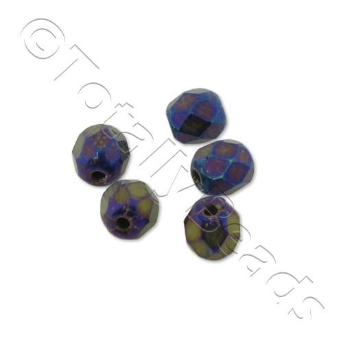 Czech Fire Polished 4mm Faceted - Matte Iris Blue - 100pcs