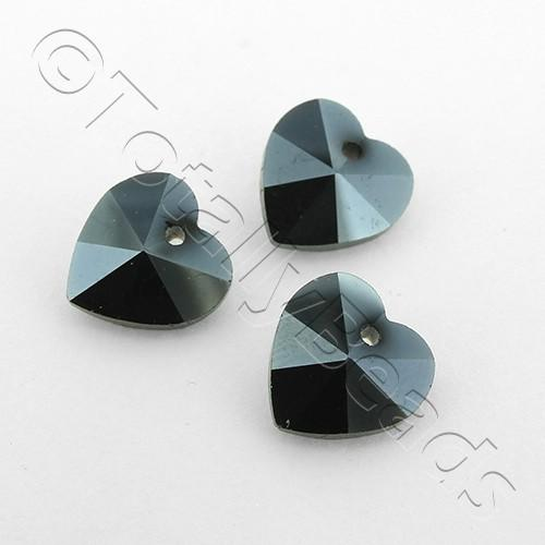 Crystal Charm Heart 10mm - Hematite 10pcs