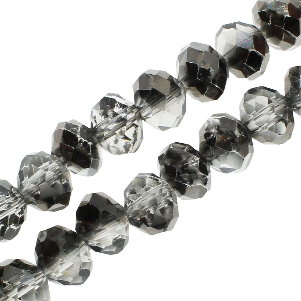 "Crystal Rondelle 6x8mm - Black Diamond Shadow 16"" String"