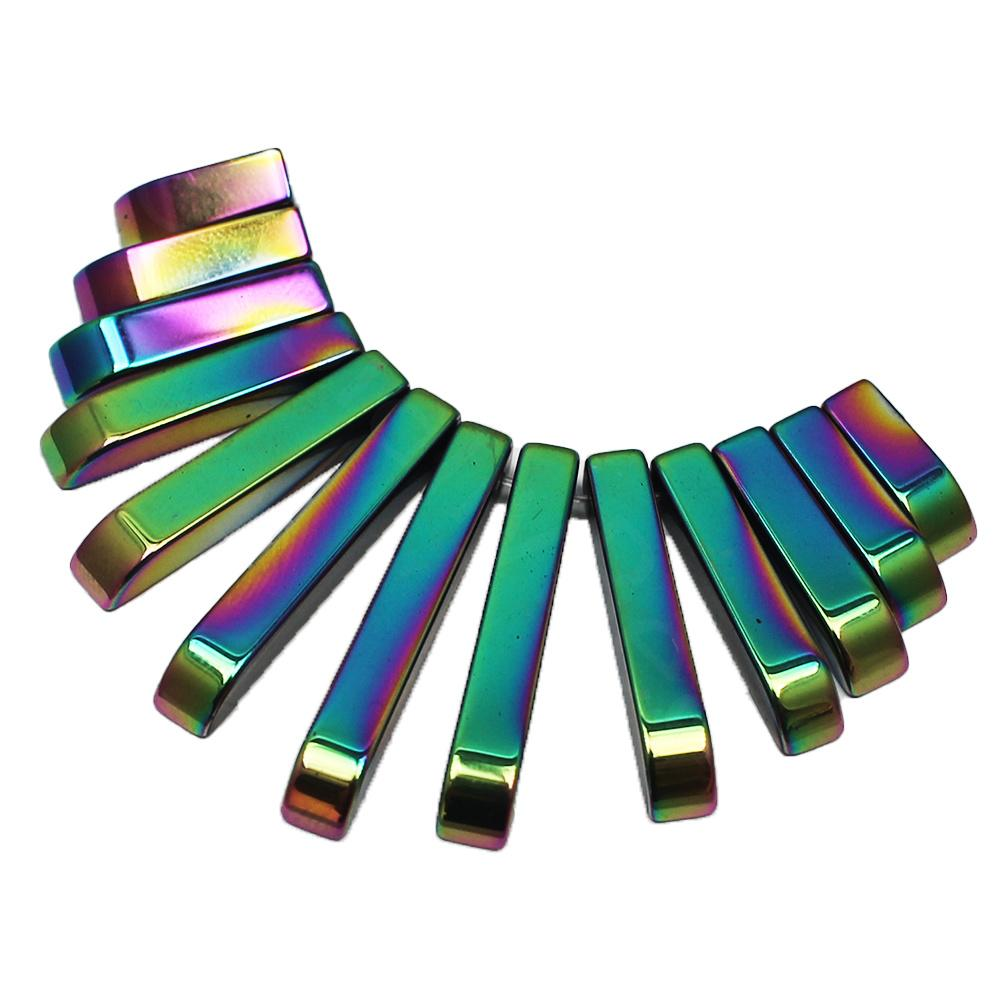 Hematite Egyptian Collar 13pc Rainbow Plated