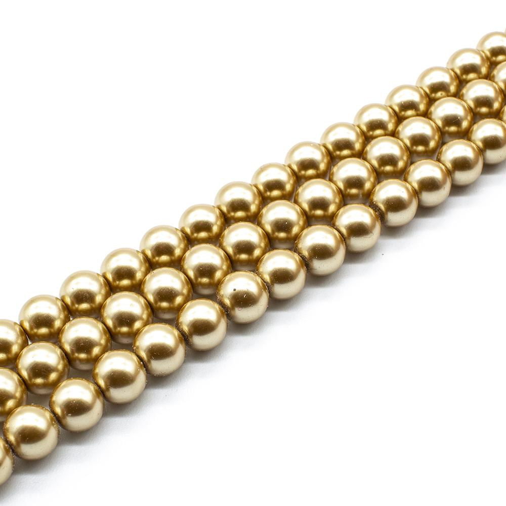 Glass Pearl Round Beads 8mm - Gold