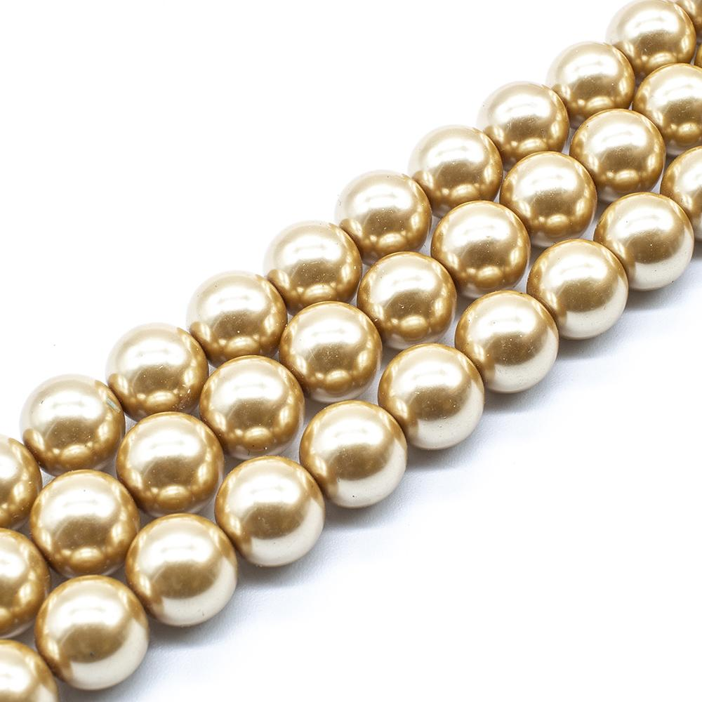 Glass Pearl Round Beads 12mm - Gold