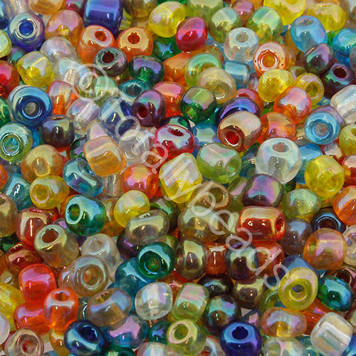 Seed Beads Transparent Rainbow  Mixed - Size 6