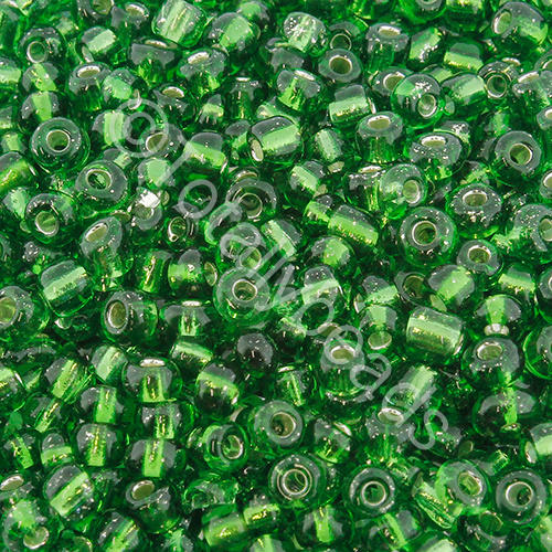 Seed Beads Silver Lined  Green - Size 6