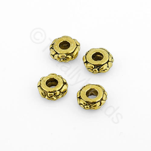 Tibetan Gold Bead - Flower Rondelle 6x3mm