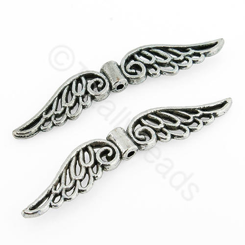 Tibetan Silver Bead - Large Wings
