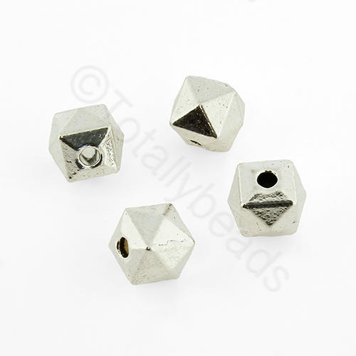 Tibetan Silver Bead - Facet Cube 7mm