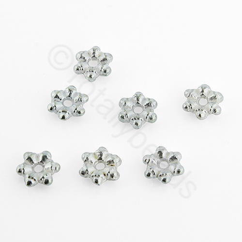 Silver Metal 6 Point Disc 5.5mm 40pcs