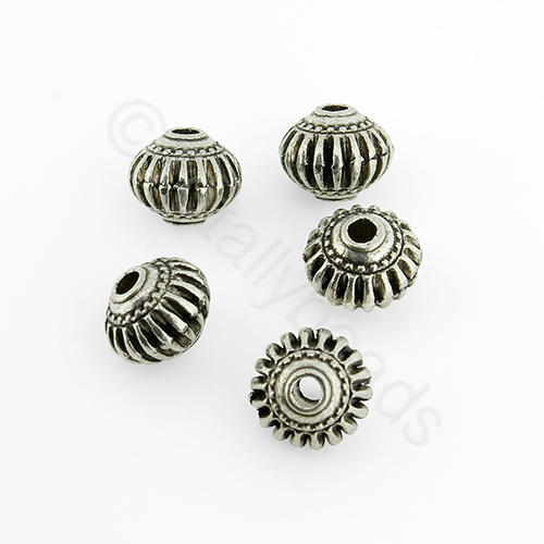 Antique Silver Metal Bead - Rondelle 8x6.5mm 15pcs - H1115