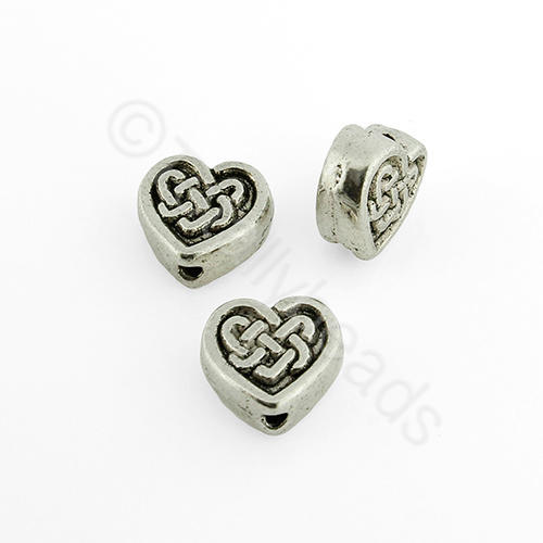 Tibetan Silver Bead - Celtic Heart 10mm
