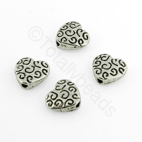 Tibetan Silver Bead - Squiggle Heart 10mm (Y-406)