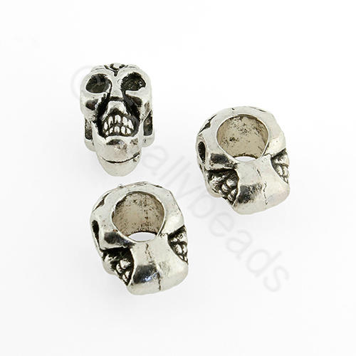 Antique Silver Metal Bead - Skull 12x9mm 10pcs - H1074