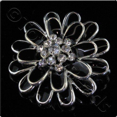 Silver Metal Black Enamel Flower 27mm