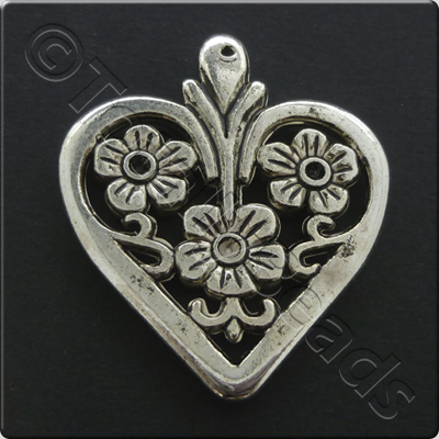 Metalised Antique Silver Heart 34x40x4mm - 3 Flowers Flat