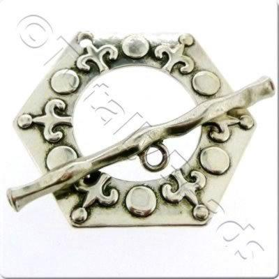 Tibetan Silver Toggle - Extra Large Hexagon