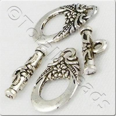 Tibetan Silver 18x12mm Oval Flower Toggle (AC2014-NF)