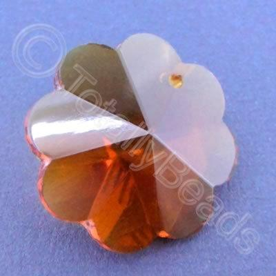 Glass Pendant Flower Amber - 26mm