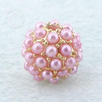 BeadyBall Bead - Gold and Pink
