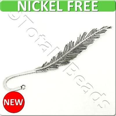 Antique Silver Metal Bookmark - Feather 140mm - A15148