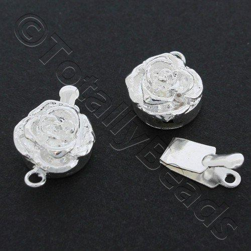 Box Clasp - Rose 9mm Silver Plated