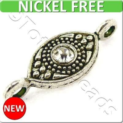 Antique Silver Metal Connector - Crystal Eye 24mm 10pcs -FA14676