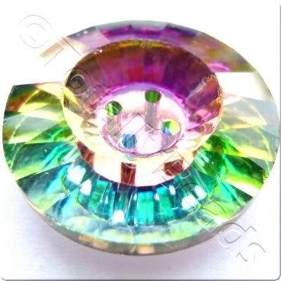 Crystal Button 4 Holes - Round 25mm - Rainbow