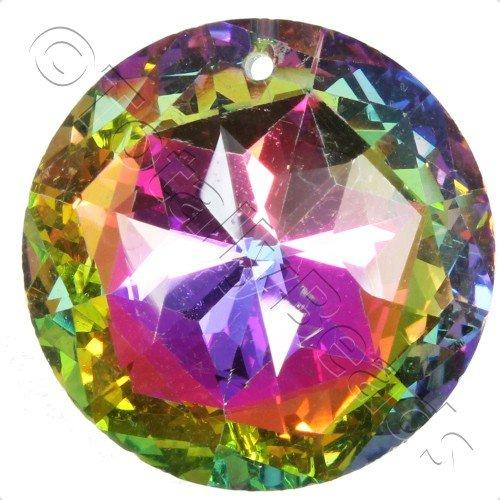 Crystal Pendant - Disc 30mm - 6 Point Rainbow B