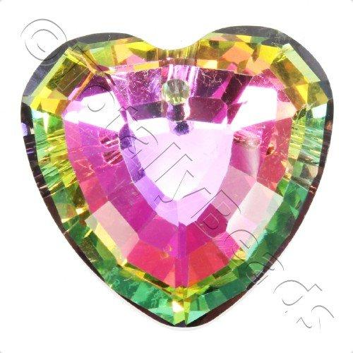 Crystal Pendant - Heart 33mm - Rainbow B